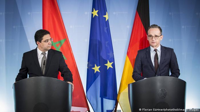 Menlu Maroko Nasser Bourita (kiri) dan Menlu Jerman Heiko Maas (kanan) di Berlin, November 2018