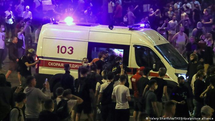 August 2020: An ambulance in Minsk surrounded by anti-government demonstrators