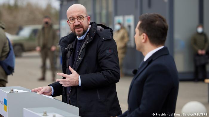 Председатель Евросовета Шарль Мишель и президент Украины Владимир Зеленский