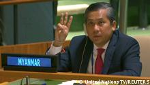 FILE PHOTO: Myanmar's ambassador to the United Nations Kyaw Moe Tun holds up three fingers at the end of his speech to the General Assembly where he pleaded for International action in overturning the military coup in his country as seen in this still image taken from a video, in the Manhattan borough of New York City, New York, U.S., February 26, 2021. United Nations TV/Handout via REUTERS THIS IMAGE HAS BEEN SUPPLIED BY A THIRD PARTY. NO RESALES. NO ARCHIVES/File Photo