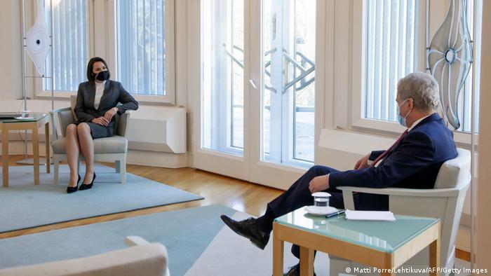 Светлана Тихановская на встрече с президентом Финляндии