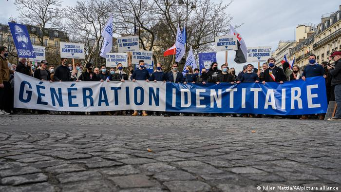 A rally against the banning of Generation Identity in Paris