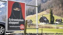 Schweiz Referendum Verhüllungsverbot | Poster Extremismus Stoppen