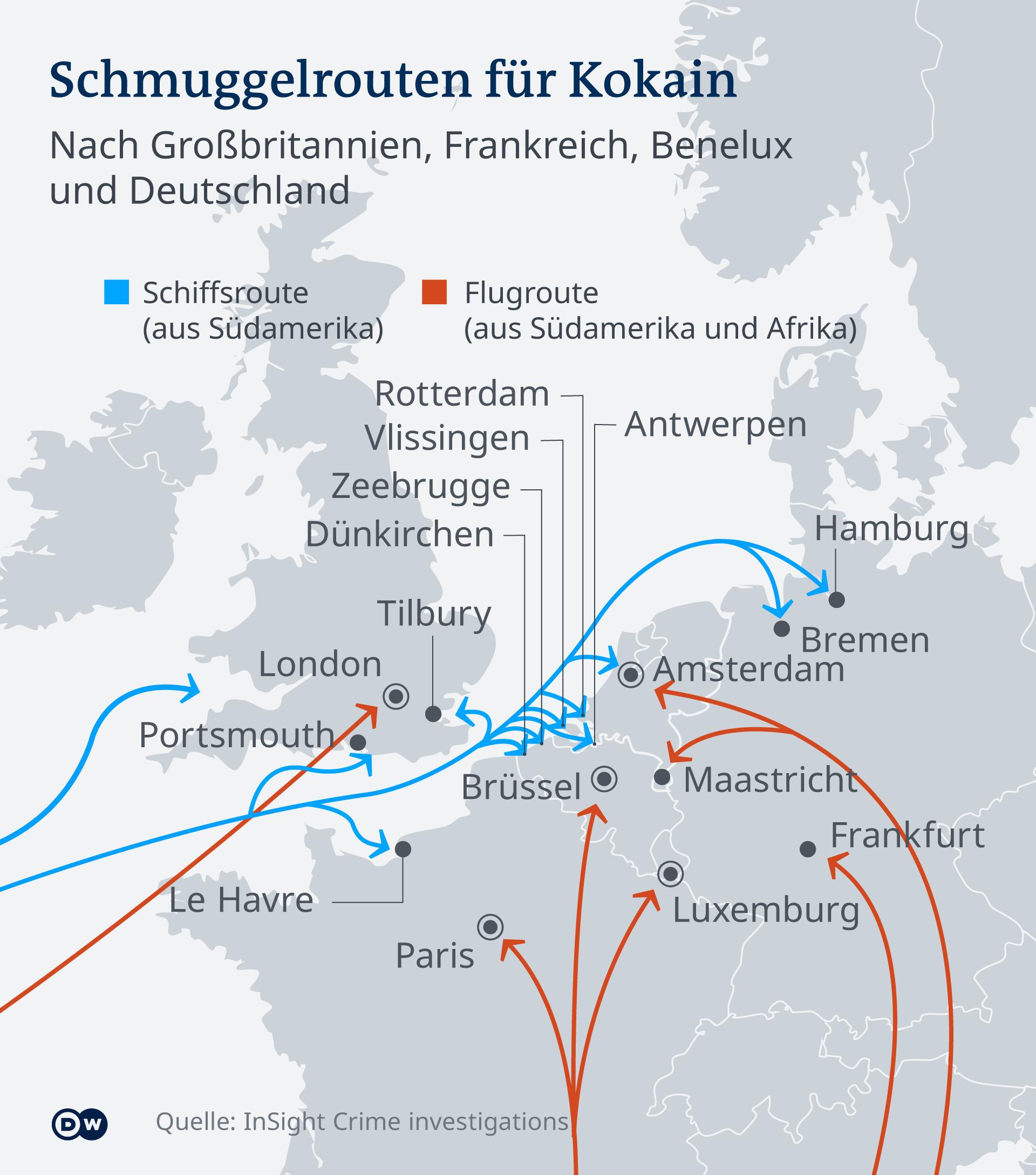 Διαδρομές κοκαΐνης προς την Ευρώπη