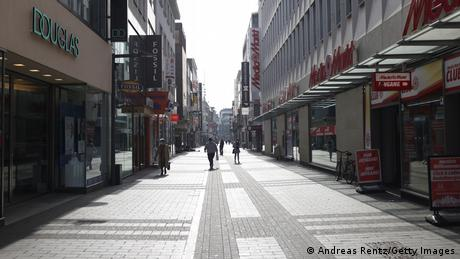 A deserted shopping street in Cologne