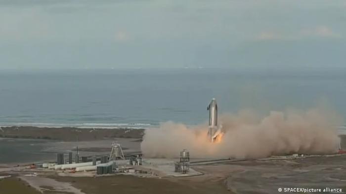 Приземление ракеты Starship SN10