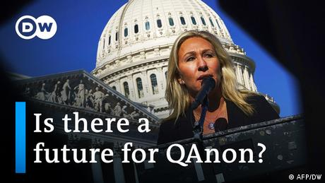 A photo of the US Capitol with the words 'Is there a future for QAnon?' written in the lower-third of the picture