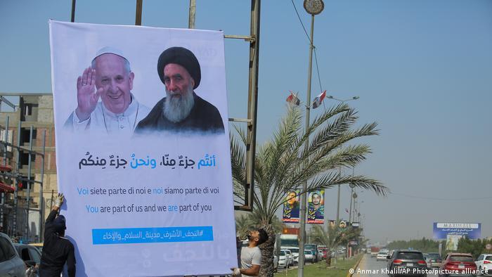 Poster of Pope Francis and Grand Ayatollah al-Sistani