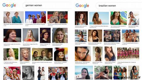 Screenshots of Google image search results for German vs Brazilian women