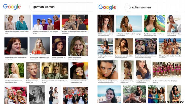 نتائج بحث صور غوغل، الفرق بين نتائج البحث عن صور لنساء ألمانيات ونساء برازيليات