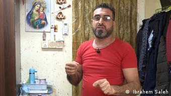 Reemon Youssef Matti, an Iraqi Christian living in the Virgin Mary refugee camp in Baghdad