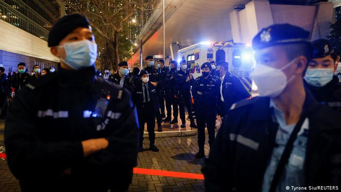 Hong Kong police in front of West Kowloon Magistrates' Court