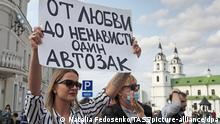 MINSK, BELARUS - SEPTEMBER 12, 2020: A protester holds up a sign with a message reading There's only one police van from hate to love during a women's rally in Svobody [Freedom] Square. Since the announcement of the 2020 Belarusian presidential election results on August 9, mass protests against the election results have been erupting in major cities across Belarus. According to the Central Election Commission of Belarus, incumbent president Alexander Lukashenko got 80.1% of the vote. Natalia Fedosenko/TASS