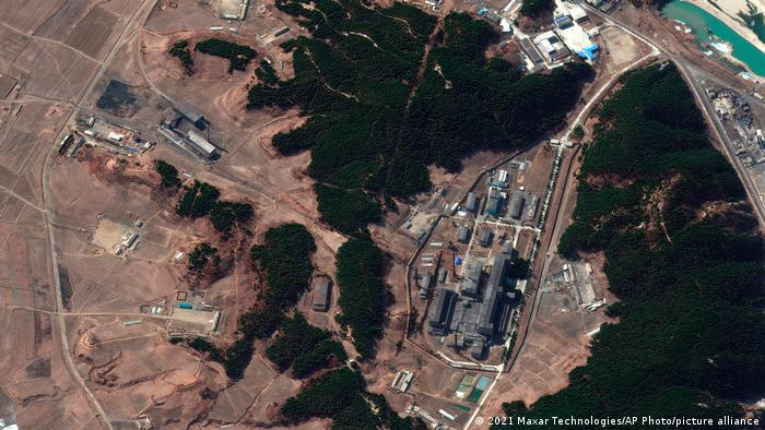 Satellite image provided by Maxar Technologies shows a steam plant, left, and North Korea's main atomic complex, right, in Yongbyon, North Korea