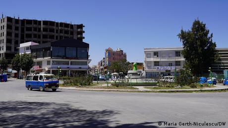 A van drives at a roundabout in Mekele