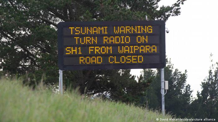 New Zealand sign warns of tsunamis and closed roads
