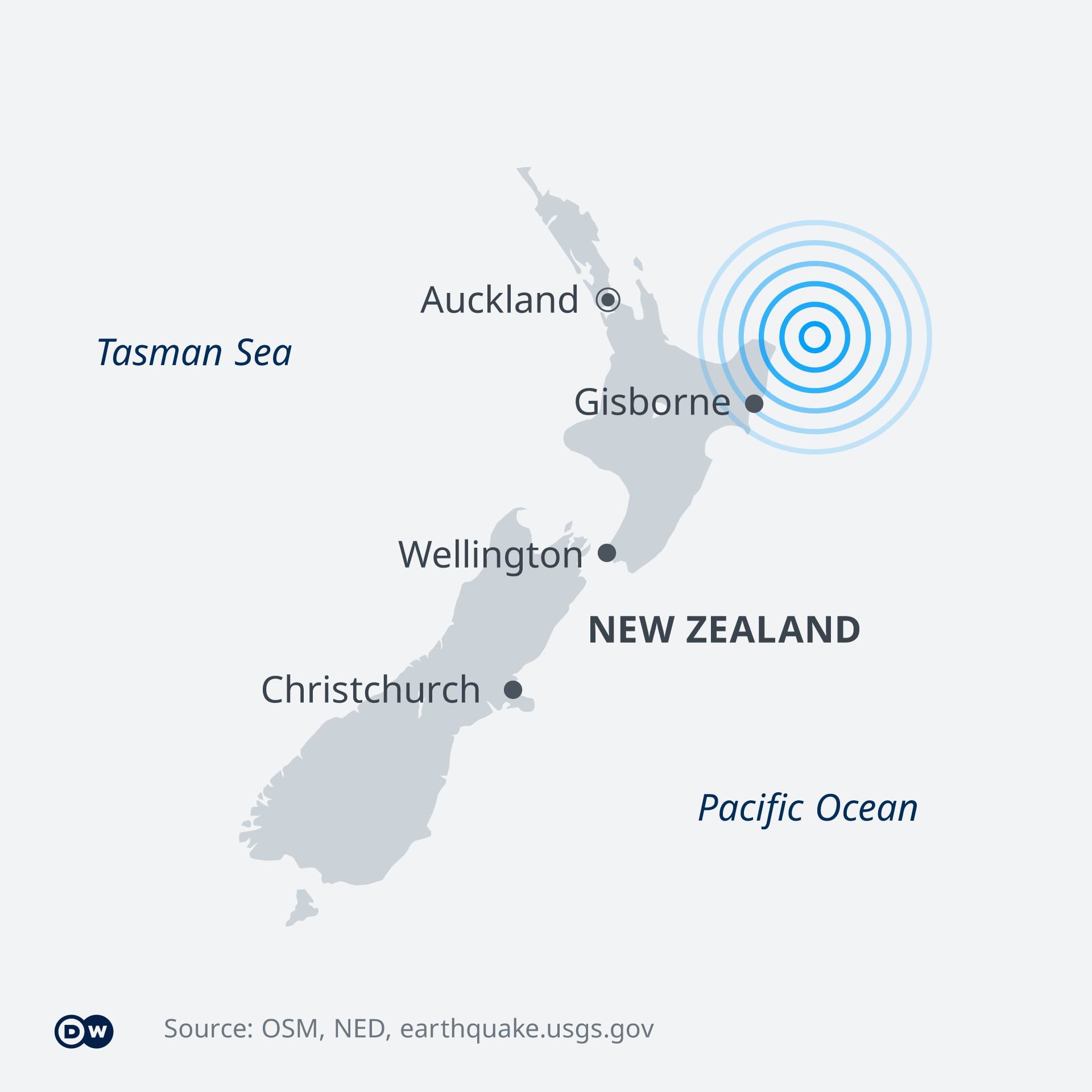 A map showing the epicenter near Gisborne