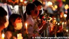 Duka cita di Bangkok, Thailand, atas korban tewas di Myanmar