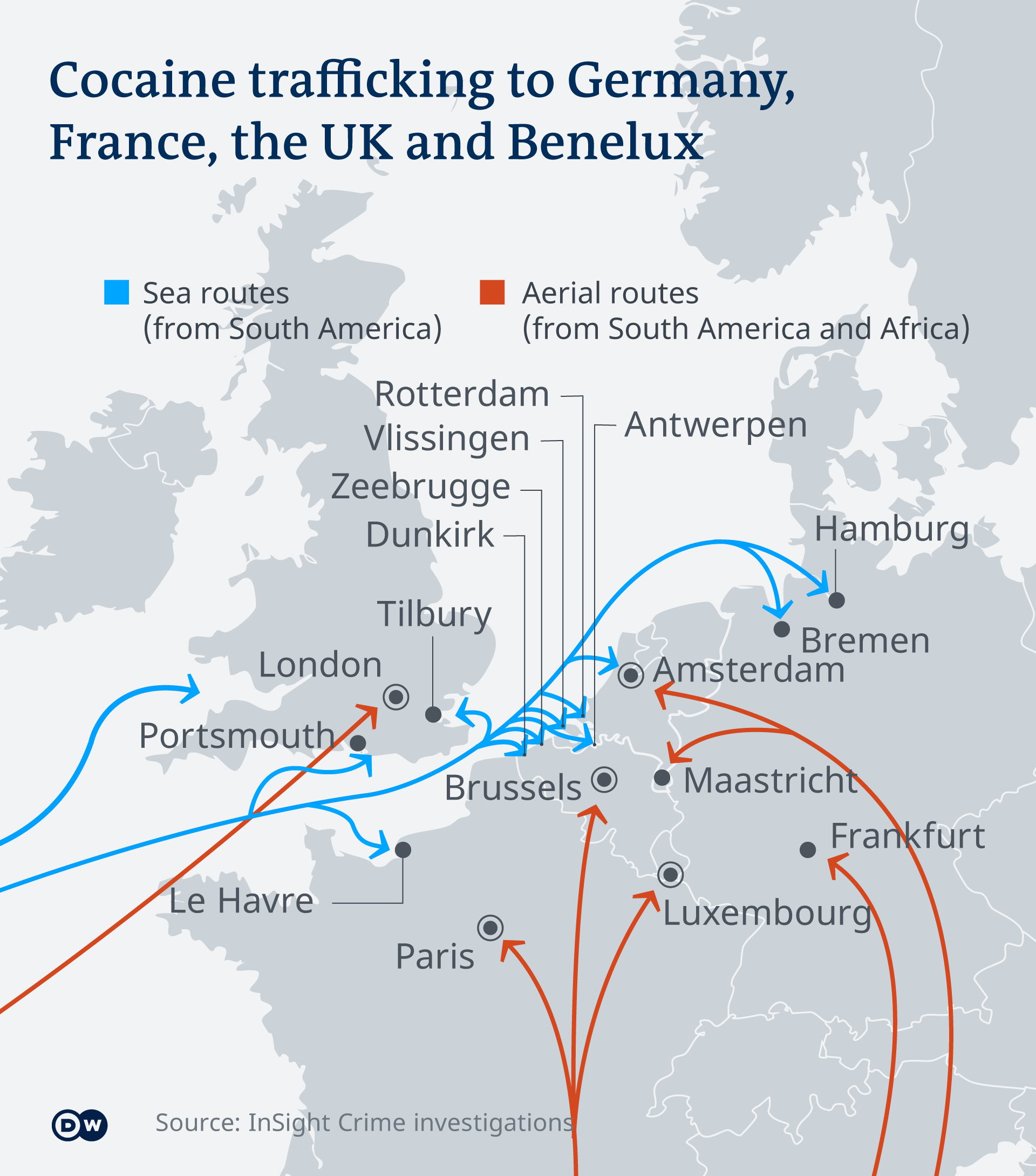 Cocaine routes into Europe