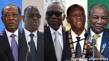 Bildcombo Idriss Déby Itno, Macky Sall, Patrice Talon, Alassane Ouattara, Alpha Condé