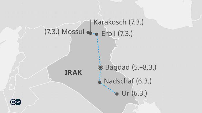 Infografik Karte Reise des Papstes in den Irak DE