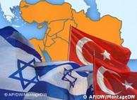 Zastave Turske i Izraela na karti koja prikazuje arapske zemlje