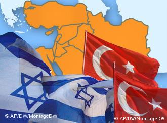 Map of region with Israeli and Turkish flags