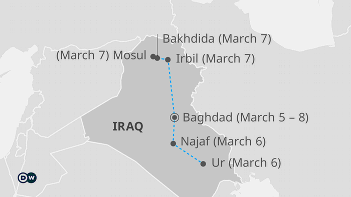 The pope's itinerary in Iraq
