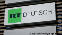 Sign on the RT Germany building in Berlin