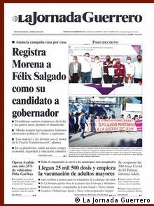 Portada del diario mexicano La Jornada.