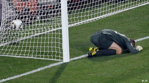 England Robert Green reacts after getting a goal during the World Cup group C soccer match between England and the United States at Royal Bafokeng Stadium in Rustenburg, South Africa, on Saturday, June 12, 2010.