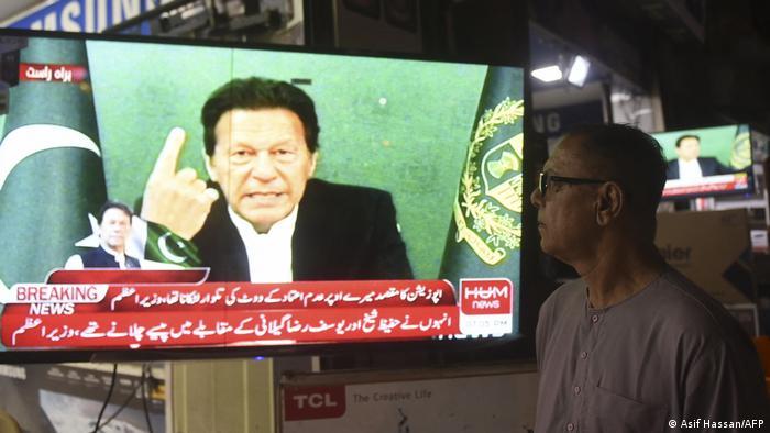 Pakistan Karacih | Fernsehübertragung Ansprache Imran Khan