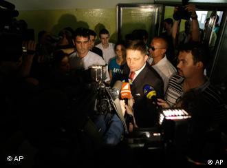 Robert Fico Slovakia's Prime Minister and chairman of the Social Democratic party Smer answers questions to media
