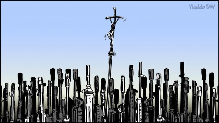 Karikatur von Vladdo   Un peregrino en Irak