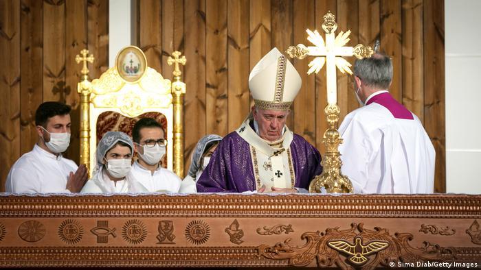 پاپ در اربیل در مراسم عشای ربانی شرکت کرد