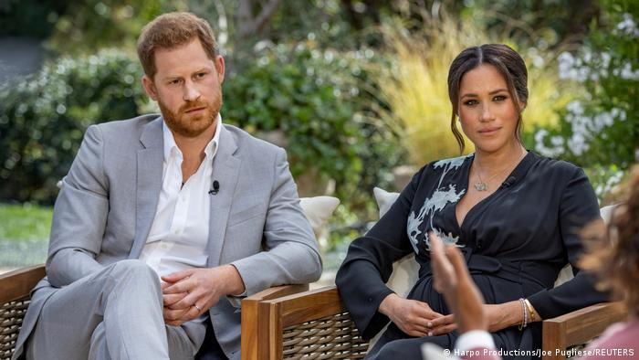 Britain's Prince Harry and Meghan, Duchess of Sussex are interviewed by Oprah Winfrey