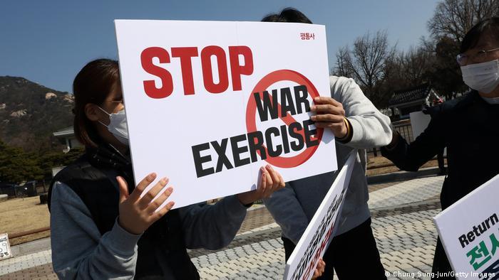 Südkorea Protest gegen gemeinsames Militärmanöver mit den USA