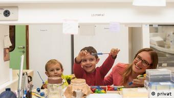 Bióloga Fernanda Staniscuaski com os filhos