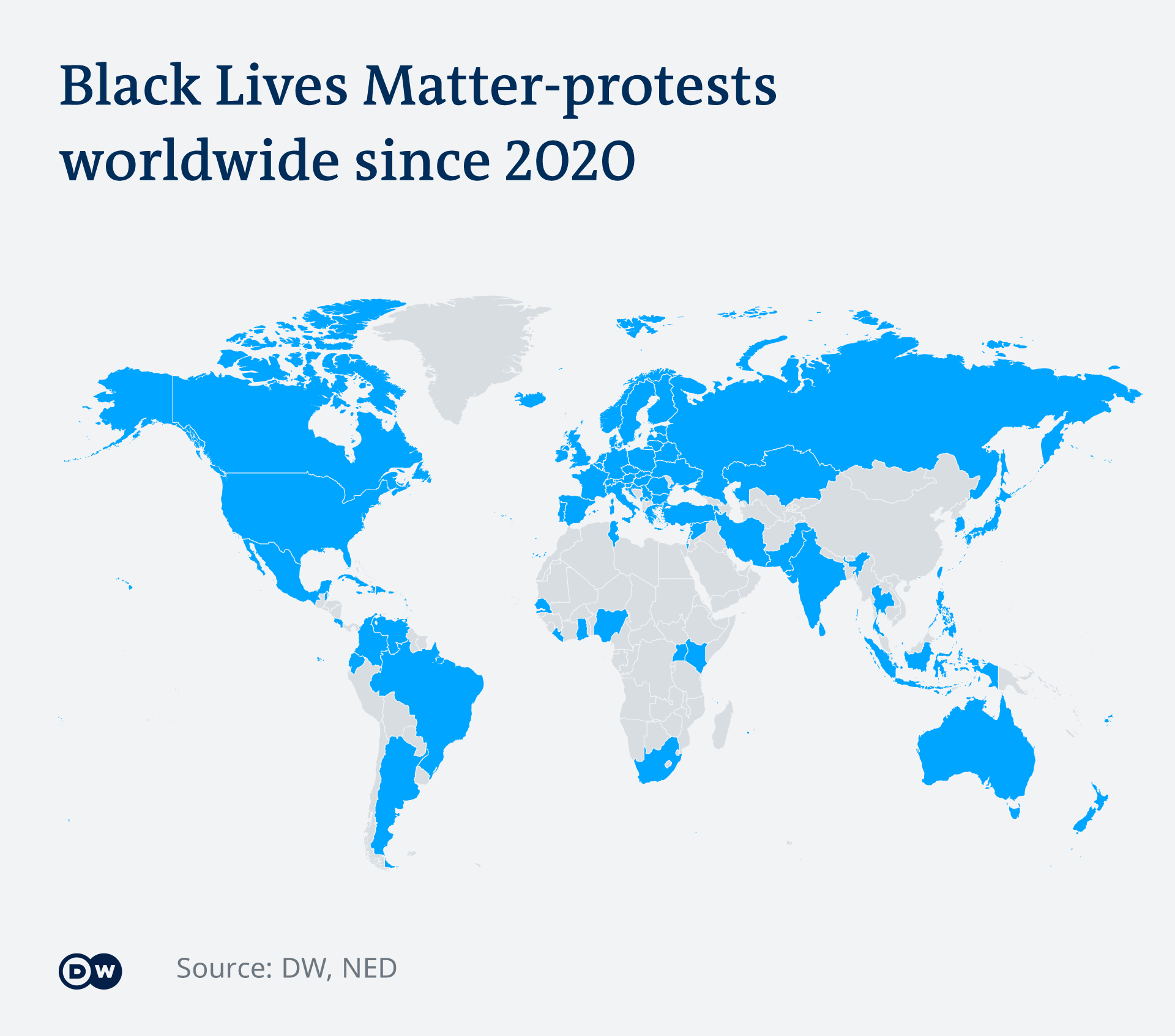 A graphic showing a world map highlighting countries where BLM protests took place in 2020