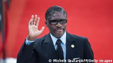 Vice President of Equatorial Guinea Teodoro Nguema Obiang Mangue gestures while arriving at the Loftus Versfeld Stadium in Pretoria, South Africa, for the inauguration of Incumbent South African President Cyril Ramaphosa on May 25, 2019. (Photo by Michele Spatari / AFP) (Photo credit should read MICHELE SPATARI/AFP via Getty Images)