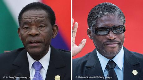 Equatoguinean President Teodoro Obiang Nguema Mbasogo and bhis son, Vice President Teodoro Nguema Obiang Mangue