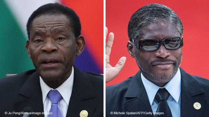 Bildkombo Präsident Teodoro Obiang Nguema Mbasogo und Vizepräsident Teodoro Nguema Obiang Mangue