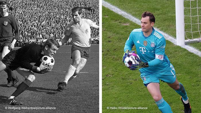Bildkombo Fussball l Torwart: Sepp Maier und Manuel Neuer