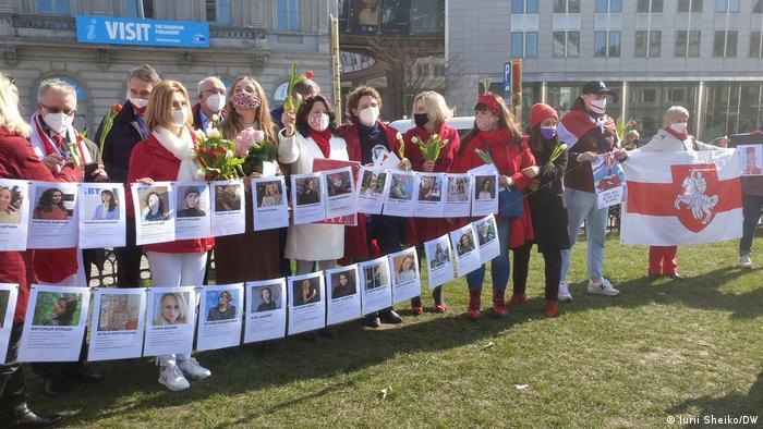 Акция Марш за свободу в Беларуси в Брюсселе, 8 марта 2021 года