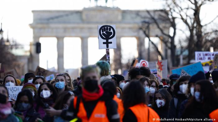 Women march during a demonstration to mark the International Women's Day near the Brandenburg Gate in Berlin, Germany on March 08, 2021.