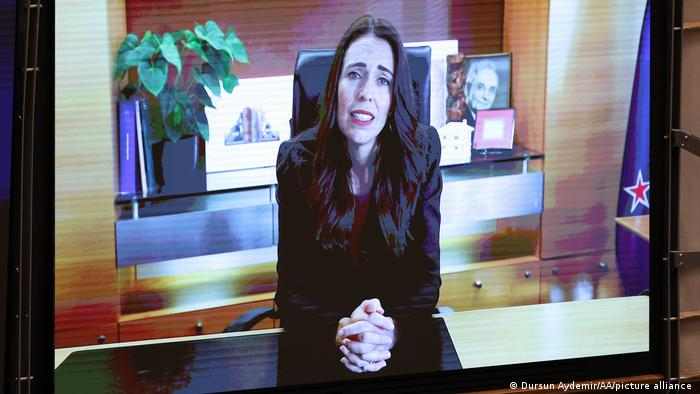 New Zealand's Prime Minister Jacinda Ardern addresses European lawmakers via video link during a plenary session to mark International Women's Day at the European Parliament in Brussels.
