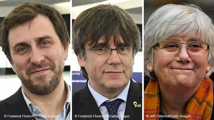 Katalan siyasetçiler Toni Comin, Carles Puigdemont ve Clara Ponsati