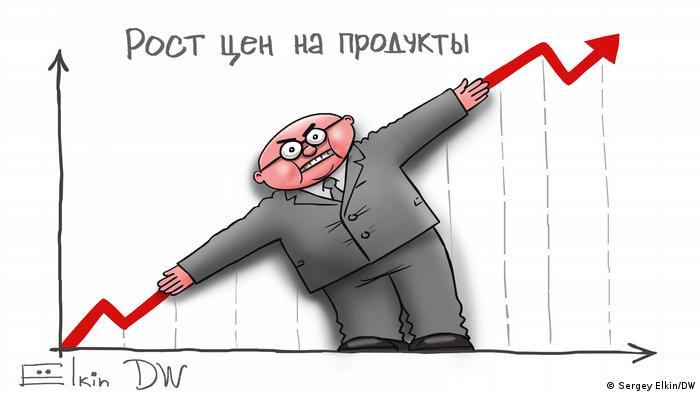 Subida de los precios de los alimentos, caricatura de Elkin para DW: un burócrata trata de esconder la subida de precios en esta viñeta de marzo.