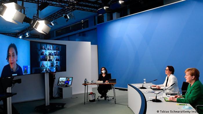 المستشارة ميركل خلال قمة الاندماج الافتراضية (9 مارس/ آذار 2021)