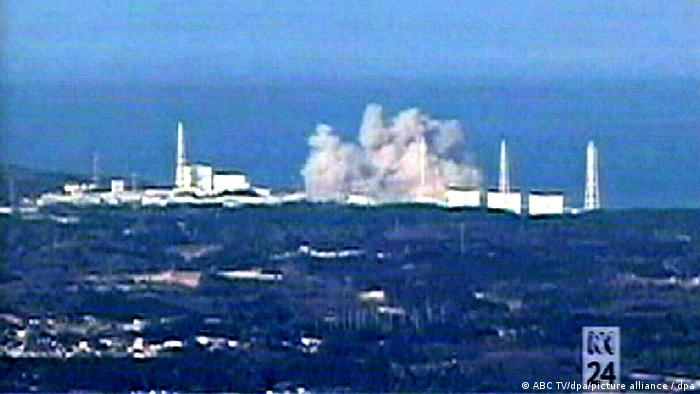 An explosion is seen at the Fukushima nuclear power plant on March 15, 2011
